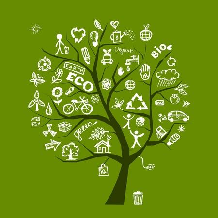 Groene ecologie boom concept voor uw ontwerp Stock Illustratie