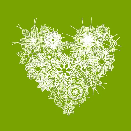 White floral heart shape for your design Vector