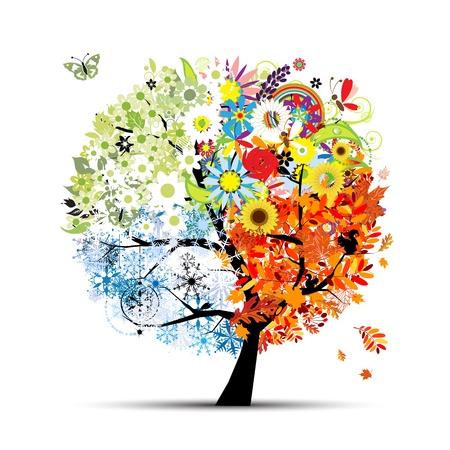 arboles de caricatura: Cuatro temporadas - primavera, verano, otoño, invierno. Árbol de Arte bello diseño