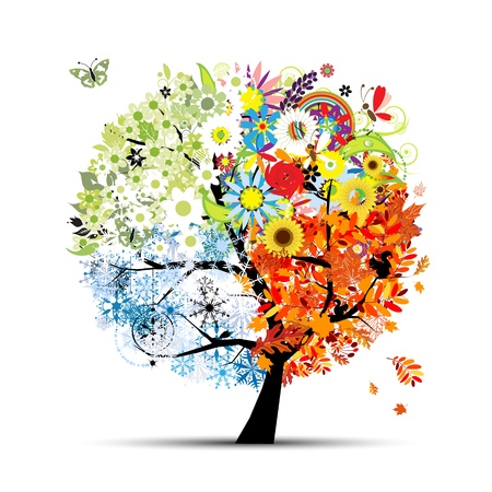 season: Four seasons - spring, summer, autumn, winter. Art tree beautiful for your design