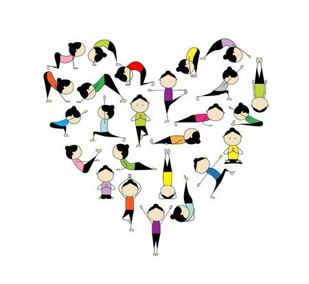 yoga meditation: Amo lo yoga! A forma di cuore per il vostro disegno