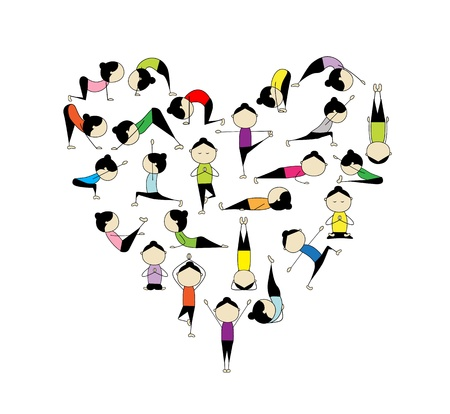 warrior pose: I love yoga! Heart shape for your design