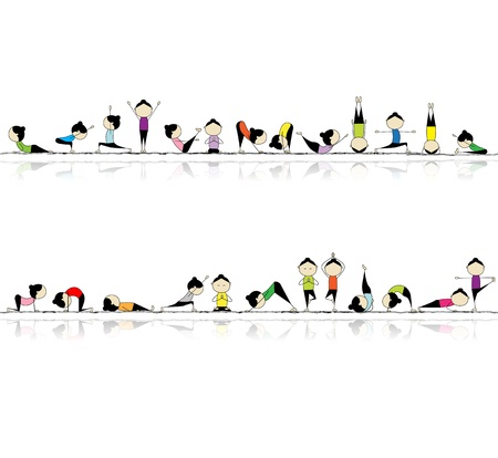 gymnastics sports: People practicing yoga, seamless background for your design  Illustration