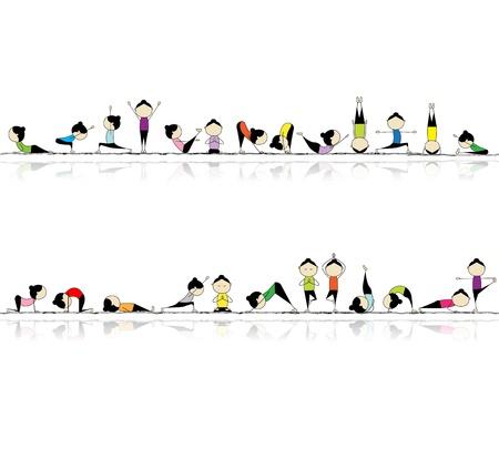 Persone, praticando lo yoga, sfondo senza soluzione di continuità per il vostro disegno
