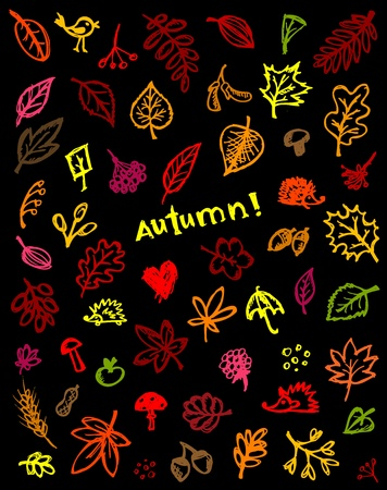 Autumn background, sketch drawing for your design Vector