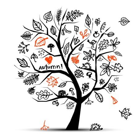 eberesche: Herbst Baum, Skizze, Zeichnung f�r Ihr design