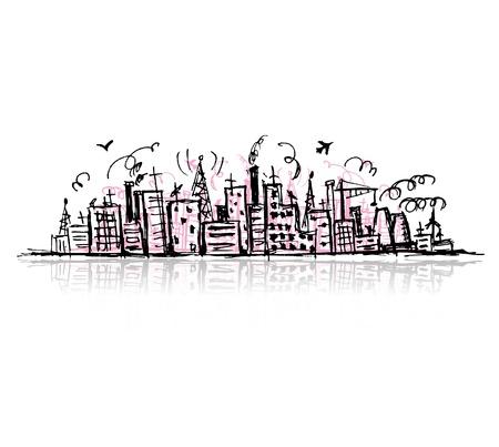 городской пейзаж: Промышленный городской пейзаж, набросок чертежа для вашего дизайна Иллюстрация