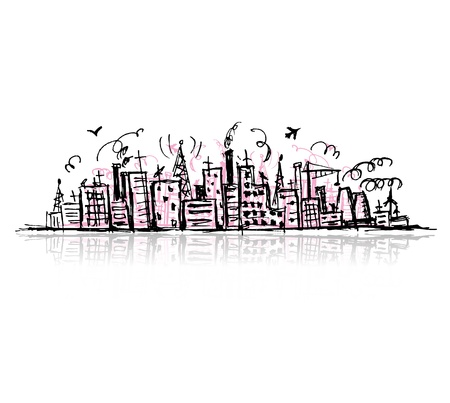 pencil box: Industrial cityscape, sketch drawing for your design