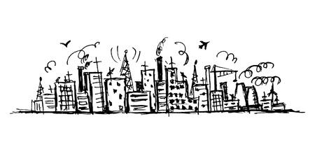 industrial landscape: Paesaggio urbano industriale, disegno schizzo per la progettazione