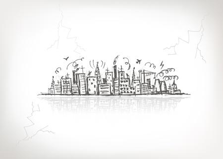 paesaggio industriale: Paesaggio urbano industriale, disegno schizzo per la progettazione