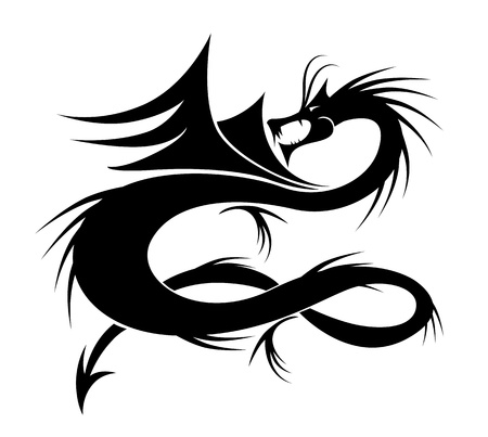 tatuaje dragon: Ilustraci�n de vector de tatuaje de drag�n para su dise�o