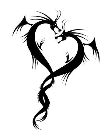 Couple of dragons tattoo vector illustration for your design Vector