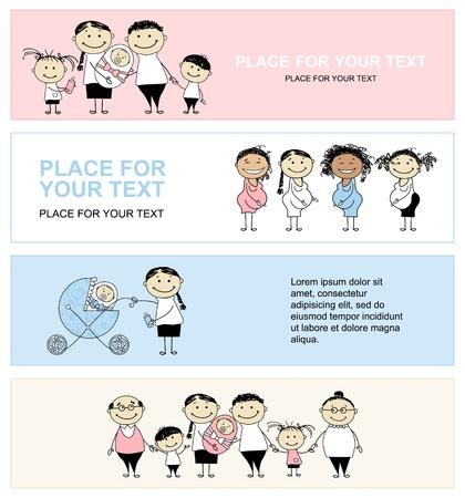 homme enceinte: Famille avec des enfants, banni�res pour votre conception Illustration