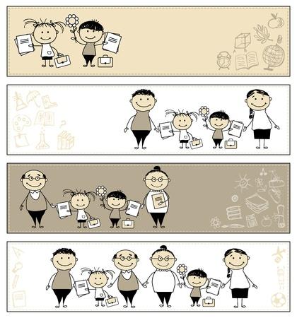 eltern und kind: Zur�ck zur Schule, Kinder mit den Eltern, Banner f�r Ihre Konstruktion