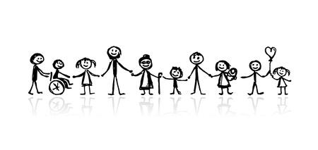 가족 함께, 귀하의 디자인에 대 한 스케치 일러스트