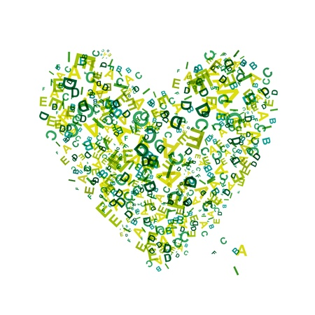 Heart shape with letters for your design  Vector