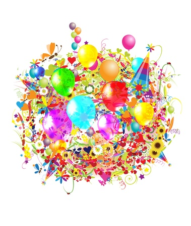 Happy birthday illustration with balloons for your design Vector