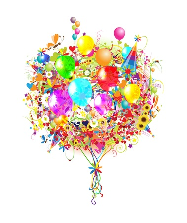 happy people: Happy birthday illustration with balloons for your design