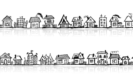 house sketch: Cityscape sketch, seamless wallpaper for your design