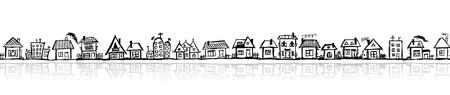 dibujos lineales: Esbozo de paisaje urbano, fondo transparente para su diseño