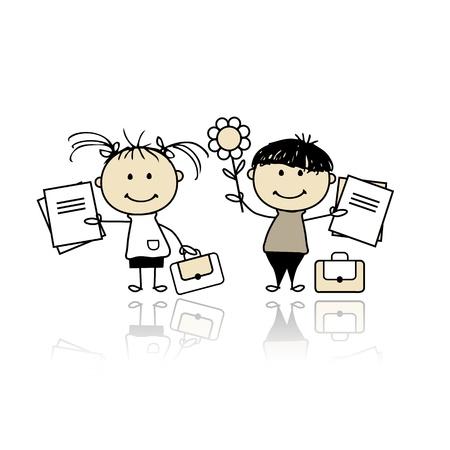 student teacher: Children with school books