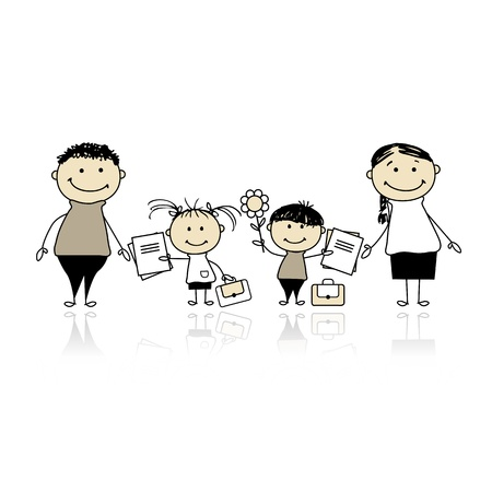Back to school, children with parents Illustration