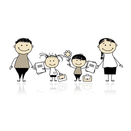family clipart: Tornare a scuola, i bambini con i genitori