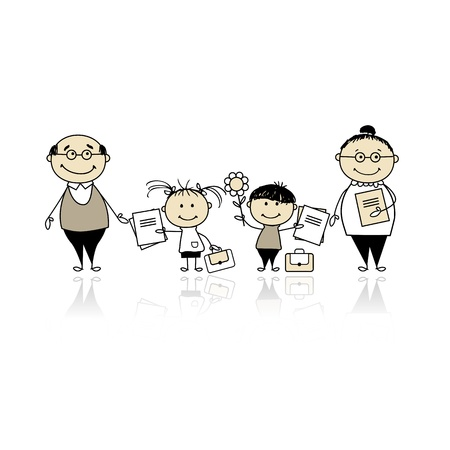 Back to school, children with parents Vector
