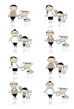 preschool teacher: Back to school, children with parents Illustration