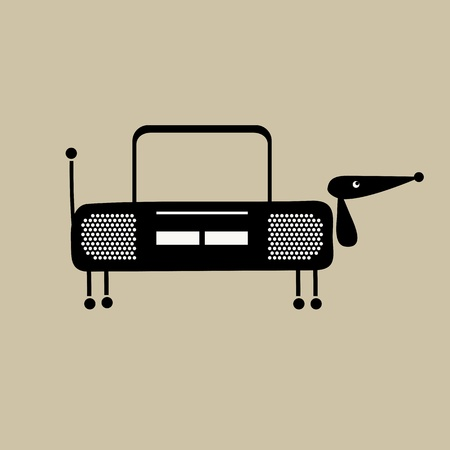 tape recorder: Funny dog with shape of recorder for your design