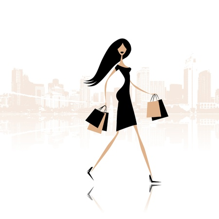 street fashion: Fashion girl with shopping bags on the city street Illustration