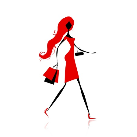red retail: Fashion girl with shopping bags for your design