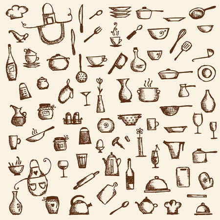 pots and pans: Kitchen utensils, sketch drawing for your design