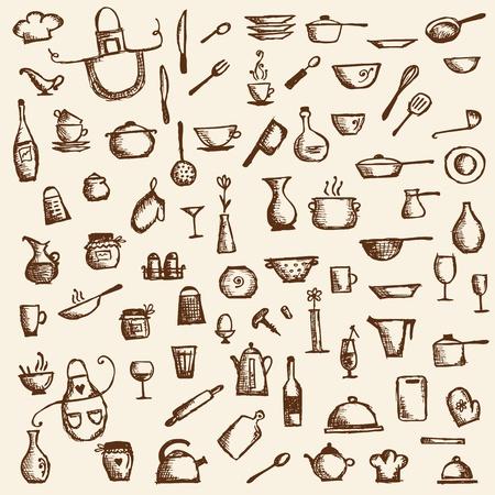 kuchnia: Naczynia kuchenne, rysunek szkic do projektowania Ilustracja