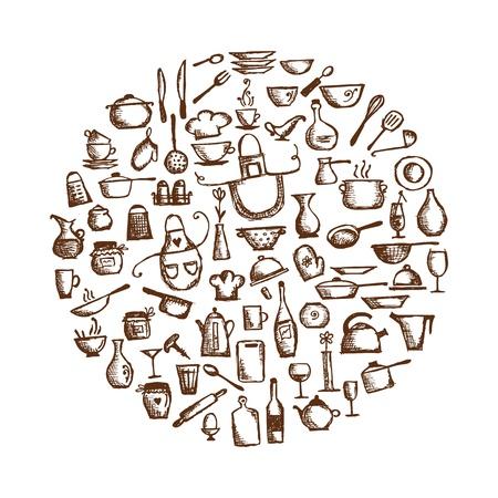 kuchnia: Naczynia Kuchenne, szkic rysunku projekt