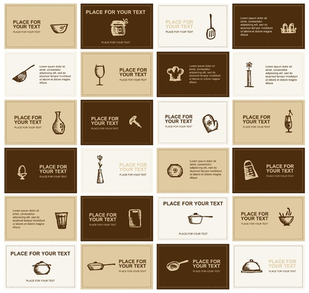 coffee company: Business cards with kitchen utensils for your design