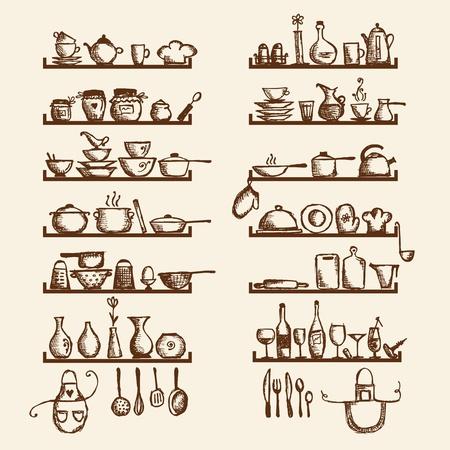 kuchnia: Naczynia kuchenne na półkach, szkic rysunku projekt