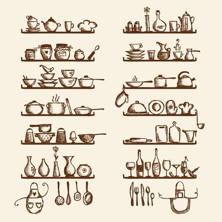 kitchen utensils: Utensilios de cocina en los estantes, boceto para el dise�o de dibujo Vectores