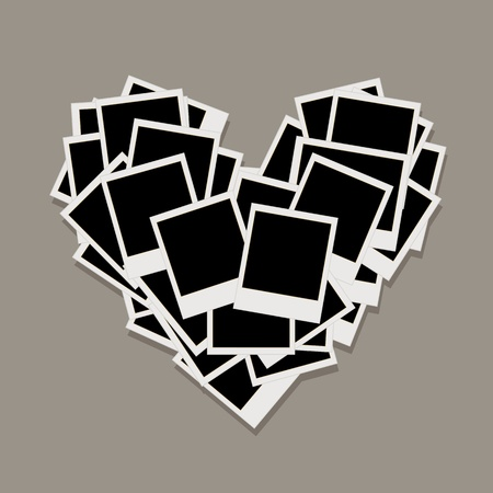 love picture: Heart shape made from photo frames, insert your photos