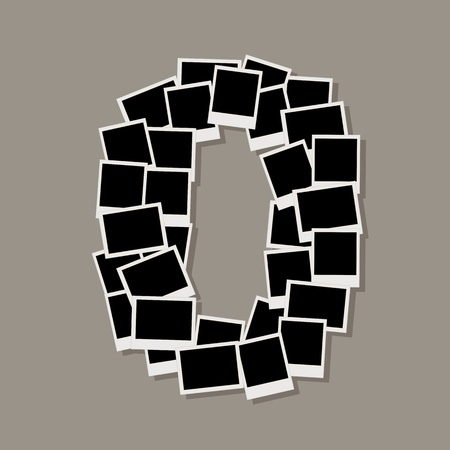 montage: Number zero made from photo frames, insert your photos