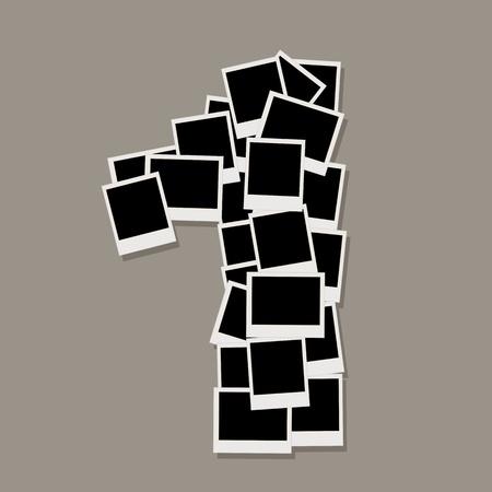 numero uno: Número uno a partir de marcos de fotos, insertar las fotos Vectores