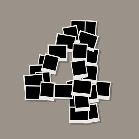 photo album page: N�mero cuatro de marcos de fotos, insertar tus fotos Vectores