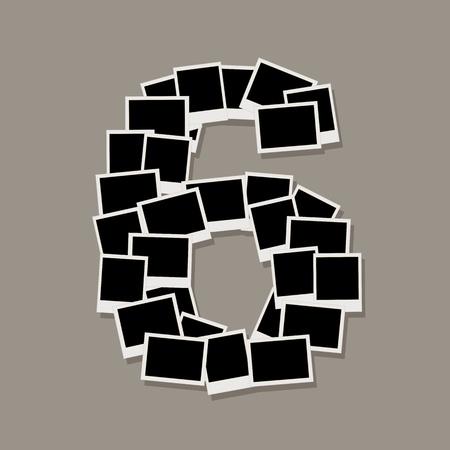 Nummer zes gemaakt van fotolijsten, plaatst u de foto's Vector Illustratie