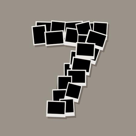 Number seven de cadres photo, insérez vos photos Vecteurs