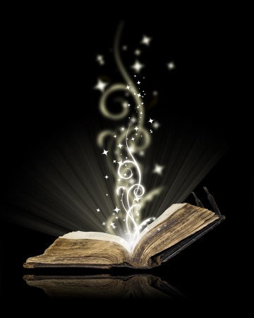 magic mystery: Opened book magic on black