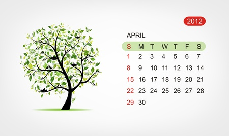Vector calendar 2012, april. Art tree design Vector