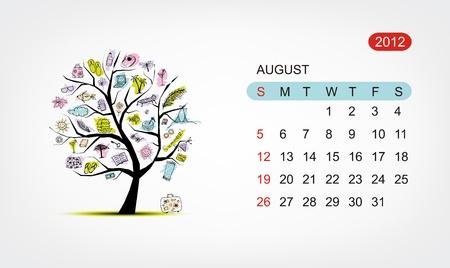 agosto: Calendario di vettore 2012, agosto. Disegno di albero di arte Vettoriali