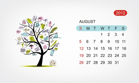 Vector calendar 2012, august. Art tree design Vector