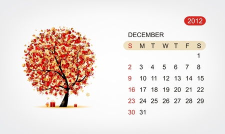 Vector calendar 2012, december. Art tree design Vector