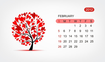 Vector calendar 2012, february. Art tree design Vector